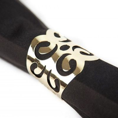 METAL NAPKIN RINGS WITH CUT OUT DESIGN GOLD