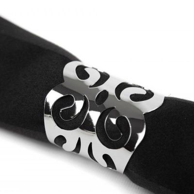 METAL NAPKIN RINGS WITH CUT OUT DESIGN SILVER
