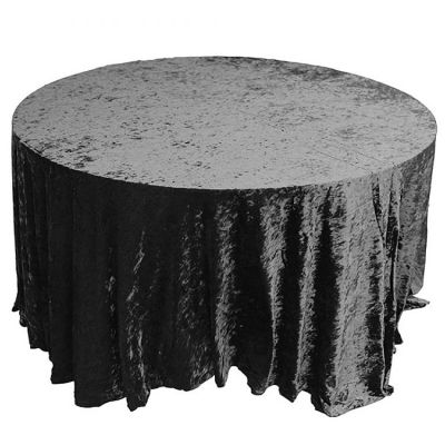 CRUSHED VELVET TABLE CLOTH BLACK