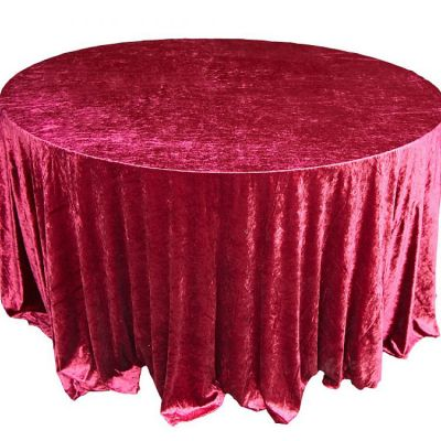 CRUSHED VELVET TABLE CLOTH GARNET