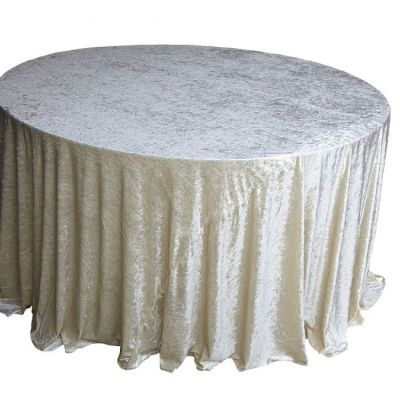 CRUSHED VELVET TABLE CLOTH IVORY