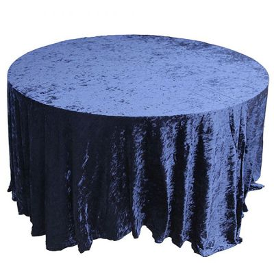 CRUSHED VELVET TABLE CLOTH NAVY