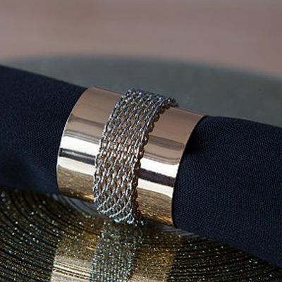 METAL NAPKIN RINGS WITH CHAIN BAND GOLD/SILVER