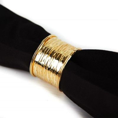 METAL TEXTURED NAPKIN RINGS GOLD
