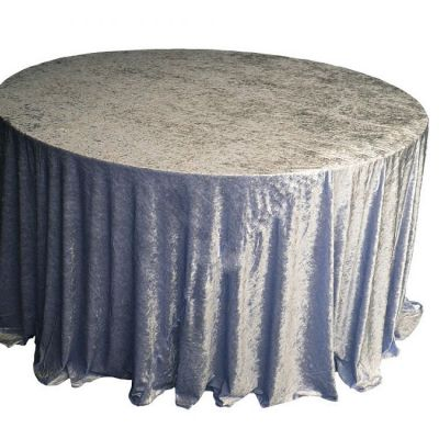 CRUSHED VELVET TABLE CLOTH DARK SILVER