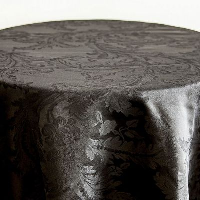 DAMASK 132 TABLECLOTH BLACK