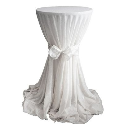 Sequin 132 Table Cloth - White
