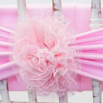 Lace Flower Clips - Pink