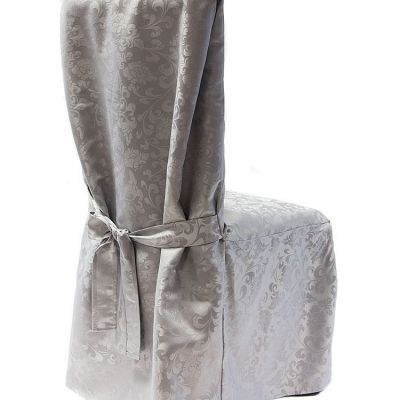 DAMASK DINING CHAIR COVERS RJ03 SILVER