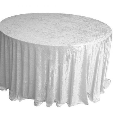 CRUSHED VELVET TABLE CLOTH WHITE