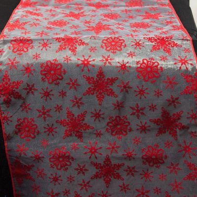 XMAS FLOCK TABLE RUNNERS RED/WHITE