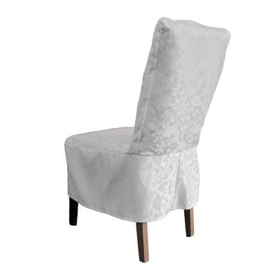 DINING DAMASK CHAIRCOVER SHORT WHITE RJ13