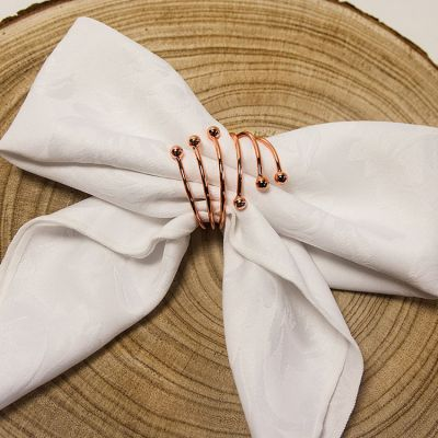 SPIRAL METAL NAPKIN RINGS ROSE GOLD