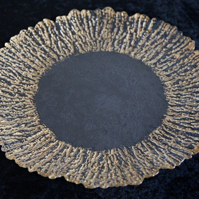 GLASS CHARGER PLATE GOLD SHELL DESIGN