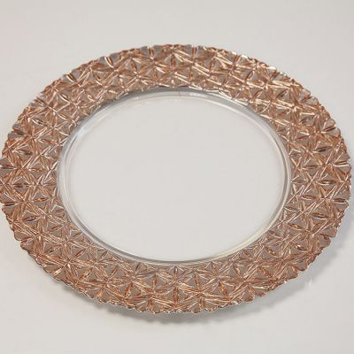 GLASS CHARGER PLATE GEOMETRIC ROSE GOLD GP-0281