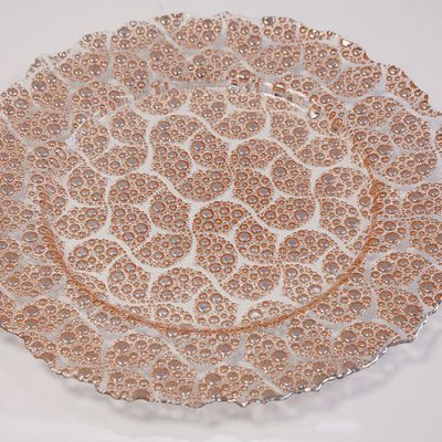 GLASS CHARGER PLATE  PAISLEY BUBBLE COPPER GP-0284