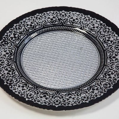 GLASS CHARGER PLATE BLACK/SILVER GP-0158