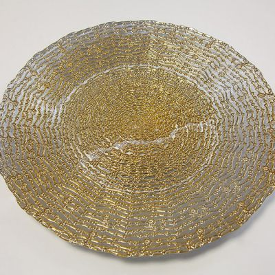 GLASS CHARGER PLATE DAISY DOT GOLD GP-0291