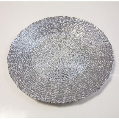 GLASS CHARGER PLATE DAISY DOT SILVER GP-0291