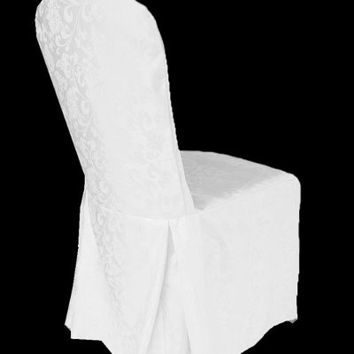 DAMASK REGAL CHAIR COVER WTH PLEATS WHITE