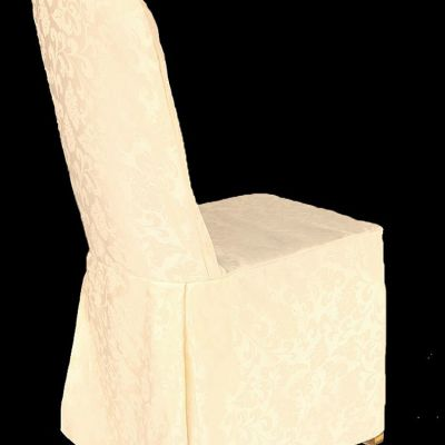DAMASK REGAL CHAIR COVER WTH PLEATS IVORY