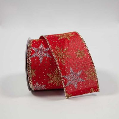 ELEGANZA WIRED EDGE CHRISTMAS SNOWFLAKE RED