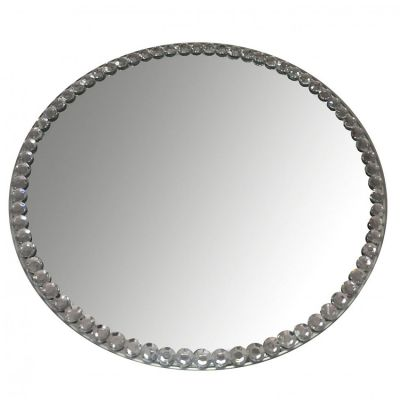 Mirror Plates With Diamante Edge - 30cm