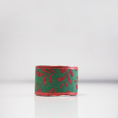 Christmas Hessian Ribbon - A10 Red/Green