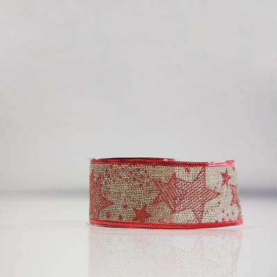 Christmas Hessian Ribbon - A1 Red Star