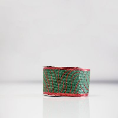 Christmas Hessian Ribbon - A9 Red/Green Vine