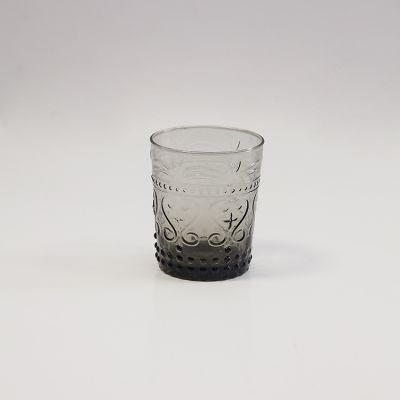 VINTAGE ART DECO SMOKED WATER TUMBLER GLASS