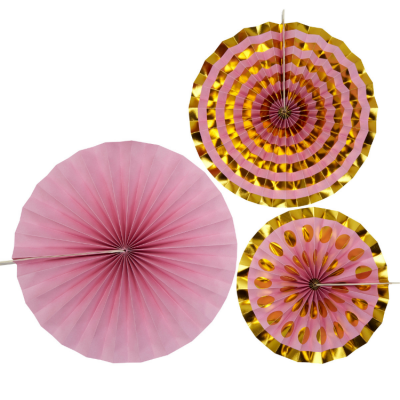 PAPER FAN PINWHEEL DECORATIONS 3 PACK PINK