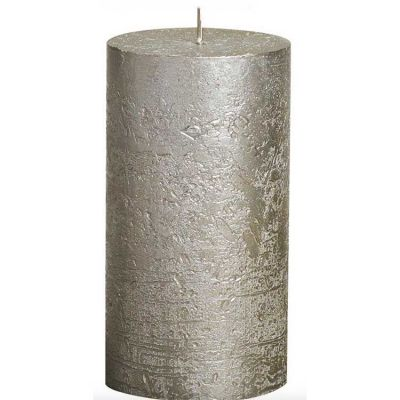 METALLIC PILLAR CANDLE CHAMPAGNE