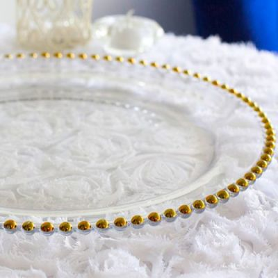 CLEAR GLASS CHARGER PLATE WITH GOLD BEADS