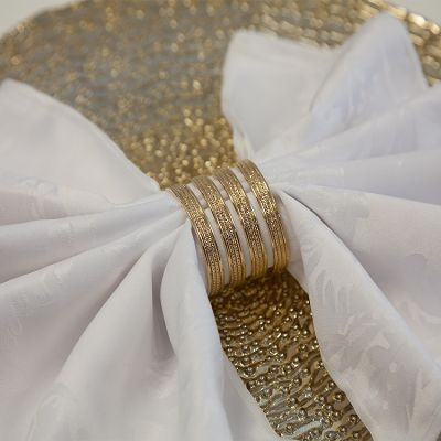 DIAMANTE BOUTIQUE NAPKIN RING 06 PACK 5588-03 GOLD
