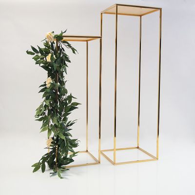 METAL FLOWER STAND GOLD 100CM