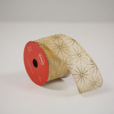 Christmas Gold Wired Ribbon