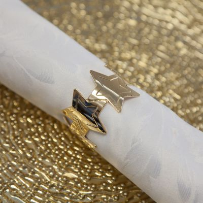 Star Napkin Rings 06 Gold - 6 Pack