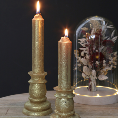 CANDLE RUSTIC GOLD 20cm