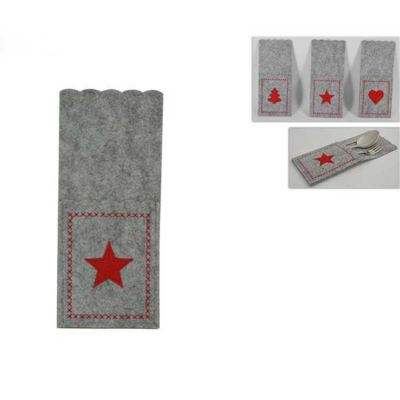 CHRISTMAS FELT CUTLERY POCKET GREY/RED 6PACK