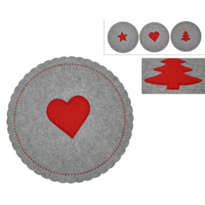 CHRISTMAS FELT PLACEMATS GREY/RED 6PACK