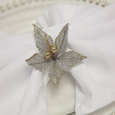 HESSIAN GREY POINSETTIA WITH GOLD BERRIES 4 PCK