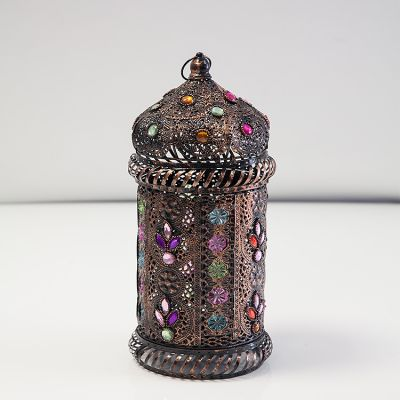 MOROCCAN LANTERN WITH COLORED GEMS