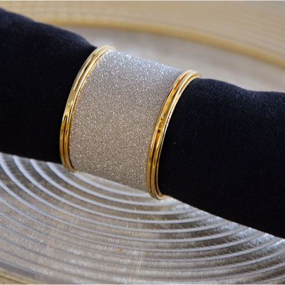 GOLD METAL GLITTER NAPKIN RINGS