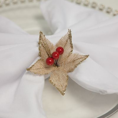 HESSIAN NATURAL POINSETTIA WITH RED BERRIES 4 PCK