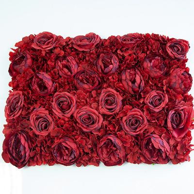 Flower Wall Panel Hydrangea, Roses, Peonies Red