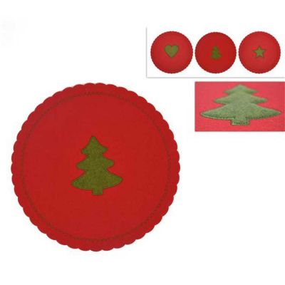 CHRISTMAS FELT PLACEMATS RED/GREEN 6PACK