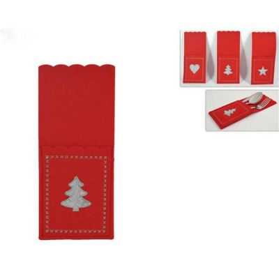 CHRISTMAS FELT CUTLERY POCKET RED/GREY 6PACK