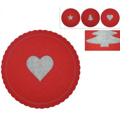 CHRISTMAS FELT PLACEMATS RED/GREY 6PACK