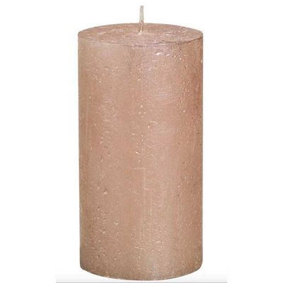 METALLIC PILLAR CANDLE ROSE GOLD
